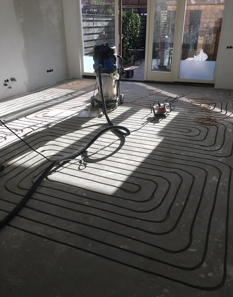 Vloer frezen vloerverwarming